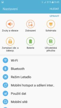 Samsung Galaxy S7 nastavení