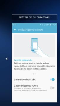 Samsung Galaxy S7 okno aplikace