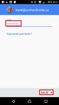 Heslo k účtu