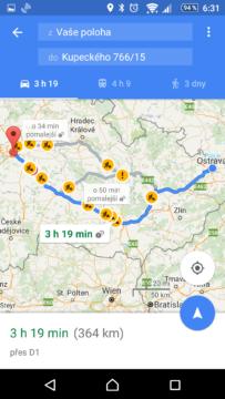 Navigace Mapy Google
