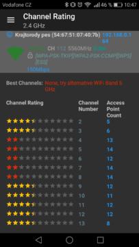WiFi Analyzer (open-source) – výběr kanálu 1