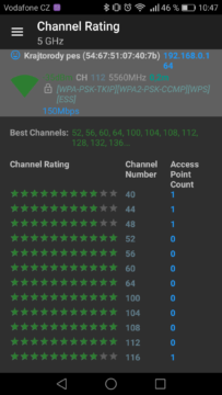 WiFi Analyzer (open-source) – výběr kanálu 2