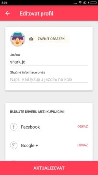 Aplikace LetGo editovat profil
