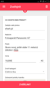 Aplikace LetGo přidání inzerátu