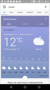 Také Google nabízí svou předpověď počasí