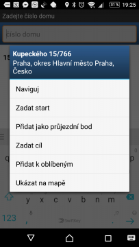 MapFactor: GPS Navigation Zadání cíle cesty