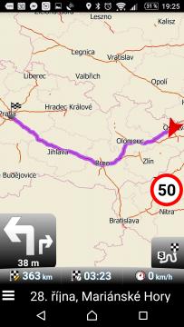 MapFactor: GPS Navigation Pohled na naplánovanou trasu