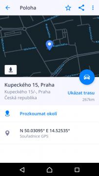 Sygic GPS Navigace a Mapy Podrobnosti o cíli cesty