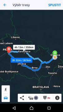 Sygic GPS Navigace a Mapy Nabídka alternativní trasy