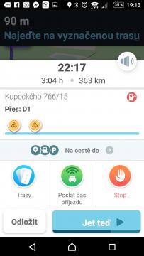 Waze - GPS, Mapy & Doprava Přehled naplánované trasy