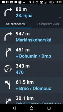 Waze - GPS, Mapy & Doprava Itinerář trasy