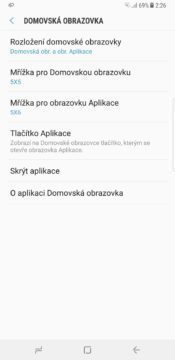 Samsung Galaxy Note 8 launcher nastavení