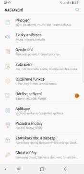 Samsung Galaxy Note 8 nastavení