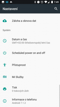 Telefon Xiaomi MI A1-system- nastaveni