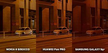 Noční snímek Nokia 8 Sirocco vs Huawei P20 Pro vs Samsung Galaxy S9 Plus - ulice