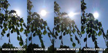 Porovnání fotoaparátů Honor 10, Pixel 2, Xiaomi Mi Mix 2S, Nokia 8 Sirocco slunce