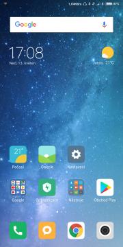 Domovská obrazovka Xiaomi Mi Mix 2S nenabízí žádná překvapeni