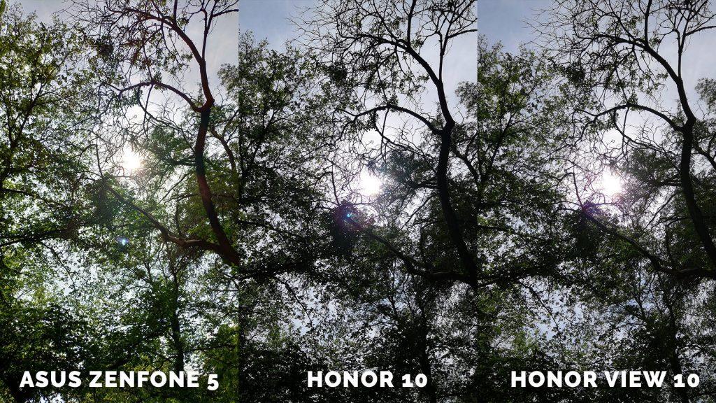 Stromy fotografování srovnání Asus Zenfone 5 vs. Honor 10 vs. Honor View 10 20