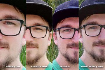 Fototest levných telefonů Honor 9 Lite vs Huawei P Smart vs Nokia 6.1 vs Xiaomi Redmi 5 Plus - selfie detail