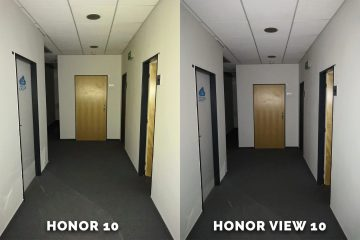 Honor 10 vs. Honor View 10 chodba test blesku