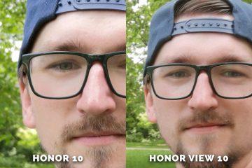 Honor 10 vs. Honor View 10 selfie detail