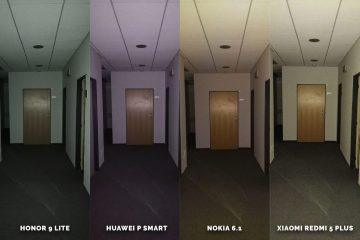 Huawei vs Honor vs Xiaomi vs Nokia fototest blesk chodba