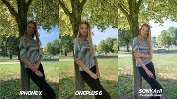 který telefon fotí lépe - oneplus 6 vs iphone X modelka opřená o strom
