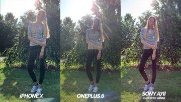 srovnani fotoaparatu oneplus 6 vs apple iphone X modelka proti svetlu