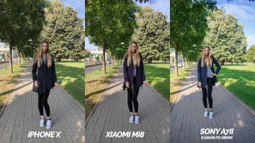 srovnani fotografii apple iphone x vs xiaomi mi 8 modelka na ceste