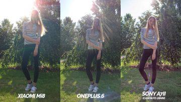 xiaomi mi 8 portret vs oneplus 6 vs full frame sony a7ii srovnani - modelka
