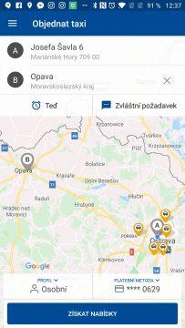 Objednávka taxi z aplikace
