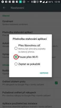 Vyberte možnost Pouze přes Wi-Fi