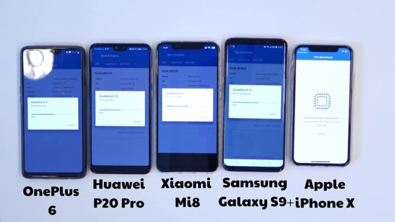 Geekbench 4 benchmark: OnePlus 6 vs Xiaomi Mi 8 vs iPhone X vs Samsung Galaxy S9+ vs Huawei P20 Pro