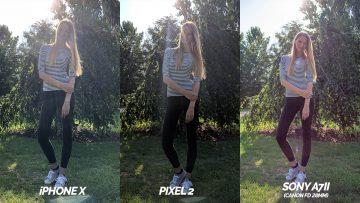srovnani fotoaparatu pixel 2 vs apple iphone X modelka proti svetlu